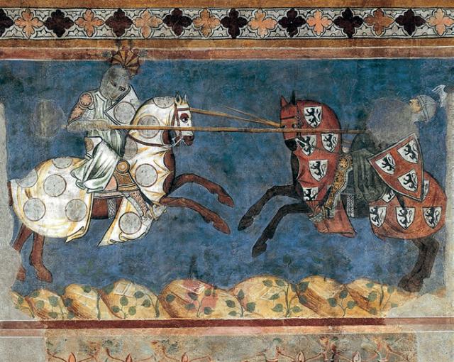 Campaldino_cavalieri da affresco in san gimignano palazzo comunale