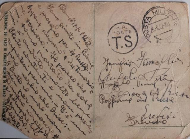 Cartolina inviata da Giocondo Piva nel settembre 1942